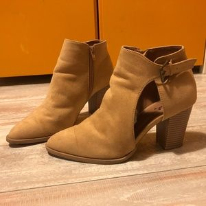 Tan Qupid Cutout Ankle Boots